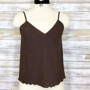 Vintage brown tank with thin spaghetti straps
